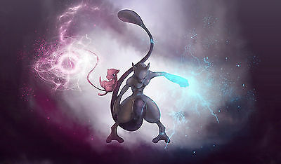Custom Playmat • Tappetino Artwork POKEMON MEWTWO MEW • Limited Edition