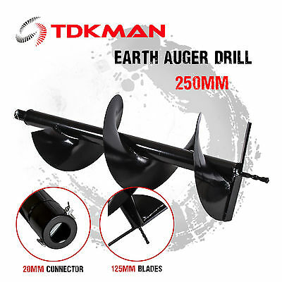 250mm Auger Bit Drill for Petrol Post Hole Digger, Earth Auger, Standard 20mm