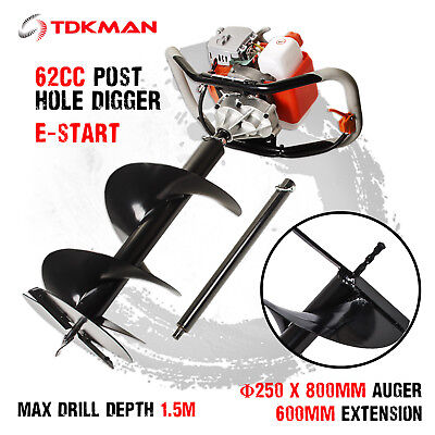 New TDKMAN 62cc Petrol Post Hole Digger Earth Auger 250mm Drill Fence Borer Bits