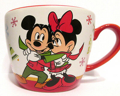 Disney Store Christmas Mickey & Minnie Snowflake 12 oz Coffee Mug