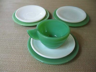 Akro Agate Child Concentrate Rib Cup & 6 Concentrate Ring Saucers & Plates Green