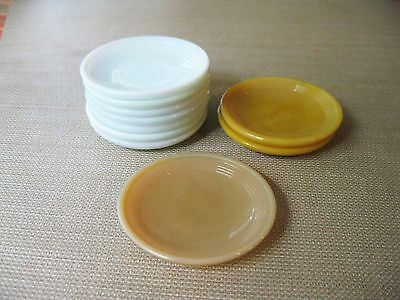 """AKRO AGATE CHILD 10 CONCENTRATE RIB SAUCERS 7 WHITE 2 YELLOW 1 BEIGE 2 3/4"""""""
