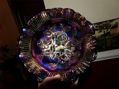 VNTG. IMPERIAL ROSE LUSTER  FOOTED COMPOTE BOWL AMETHYST CARNIVAL GLASS RARE
