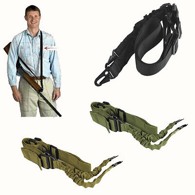 Tactical 2 Two Point Adjustable Bungee Rifle Gun Sling System Strap