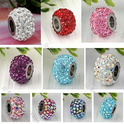 10 Color / 1pc Czech Crystal European Bead Stainless Steel Whole Core Fit Charm