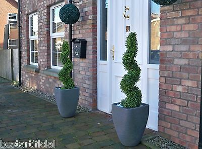 2 Best Artificial 3ft 90cm Topiary Spiral Boxwood Trees & Battery LED Lights