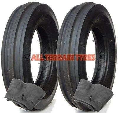 2x 6.00-16 6 Ply Classic Vintage Tractor 3 Rib Front Tyres & Tubes 600-16 600x16