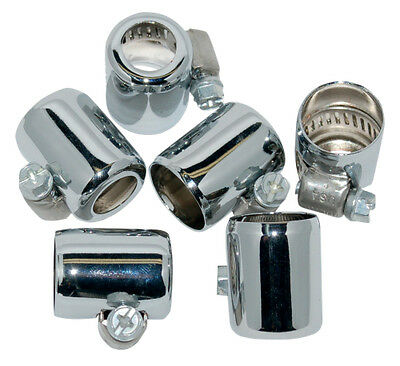 Namz Colored Hose Clamps for 3/8 Inch Oil Line 6 Pack Chrome For Harley-Davidson
