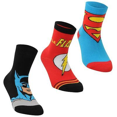 DC Comics Boys Kids Infants Childrens Toddlers 3 Pack Crew Socks Character Print