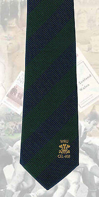 Welsh Rugby Union - Cel- Am Golf - navy & green stripes RUGBY TIE