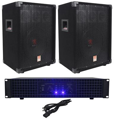 "2) Rockville RSG10 10"" PA Speakers+Technical Pro AX1200 1200w Power DJ Amplifier"
