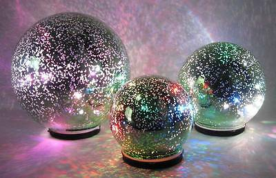 LED lighted Color Changing Green Mercury Glass Globes Set of 3 indoor/outdoor
