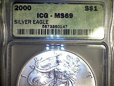 2000    American Silver Eagle    graded     MS69    by   ICG