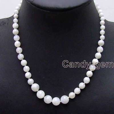 "SALE Genuine Big 6-12mm White Round Natural MoonStone 18"" gradual necklace-5820"