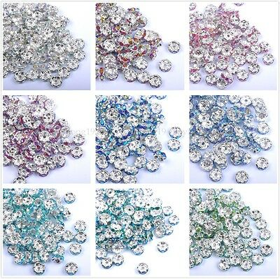 100pcs Quality Czech AB Crystal Rhinestone Silver Rondelle Spacer Beads 6MM 8MM