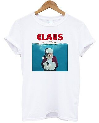 Claus T Shirt Santa Father Christmas Jaws Funny Parody Girft Present Movie Film