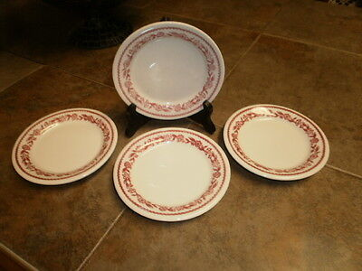 Lot of 4 Dessert Plates Vintage Buffalo China Red Floral Kenmore Pattern RARE