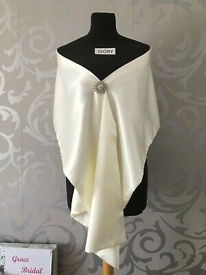 IVORY SATIN SHAWL WRAP PASHMINA STOLE WEDDING CRUISE PROM **free samples** BNIP