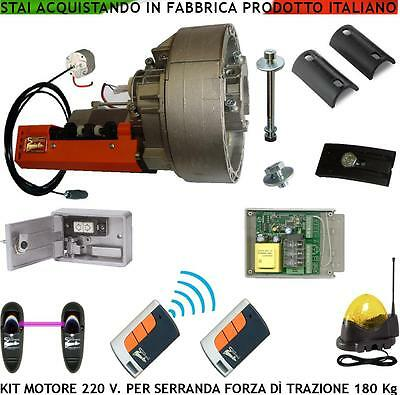 Saracinesca Kit Automatismo 180 Kg 20 mt² Motore 220 V Centrale 2 Rad Fot Lam Bl