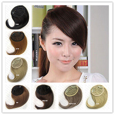 Womens Straight Synthetic Hair Fringe Inclined Bang Clip-In Front Hair Extension