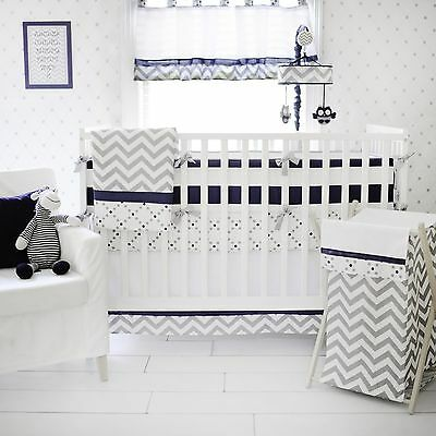 My Baby Sam 5 Piece Nursery Crib Bedding Set Out Of The Blue w/ Bumper & Mobile