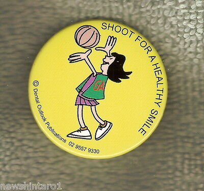#D137.  Health  Tin  Badge, Netball  Design, Healthy Smile