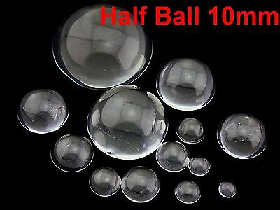 100 Transparent Flatback Glass Half Sphere Ball Cabochon 10mm No Hole