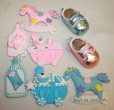 babies first christmas decoration boy or girl baby pink & blue hanging gift tag
