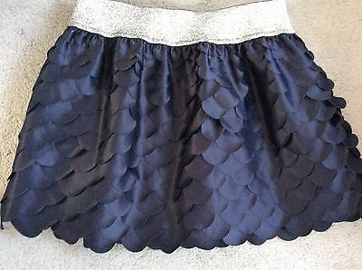 NAVY EVENING MINI SKIRT IN WAVY SEGMENTS WITH SILVER WAISTBANDAND -AGE 11y