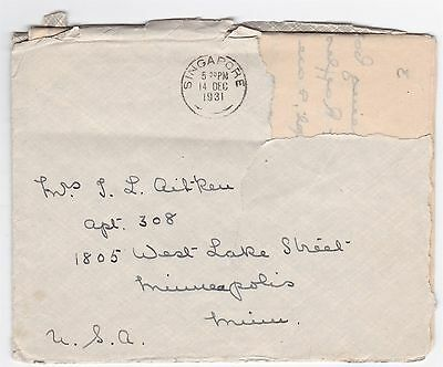 Singapore to US 1931 Cover & P&O Steam Navigation co Letter on Letterhead