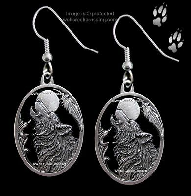 Moon Song Wolf Earrings - Diamond Cut Wolves Moon Eagle Feather - Lovely Gift *