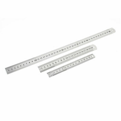 3 in 1 15cm 20cm 40cm Double Sides   Metric Straight Ruler Silver Tone