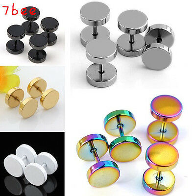 1 Pair Fashion Round Barbell Stainless Steel Screw Back Men's Earring Ear Studs
