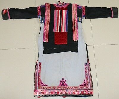 Tribal chinese minority people's old local cloth hand embroidery vest robe set