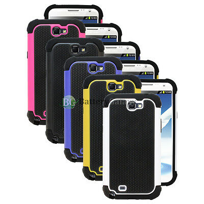 Lot of 5 Pink/Black/Yellow Hybrid Rubber Case Cover for Samsung Galaxy Note 2