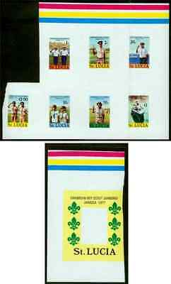 St. Lucia 1977 Scout Jamboree MASTER PROOF SHEETS, one SS frame/other all stamps