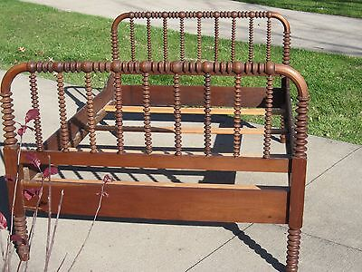 Antique Eastlake Victorian Style Wooden Double Bed With Wood Rails
