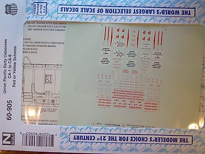 Microscale Decal N  #60-905 Union Pacific Cabooses CA-1 through CA-9 (1941-1977)