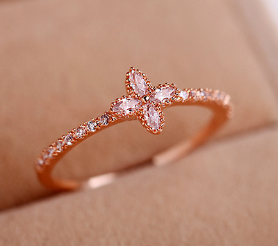 Size 5.5/6.5/7.5 Women's White Sapphire Lucky Clover Ring 10KT Rose Gold Filled