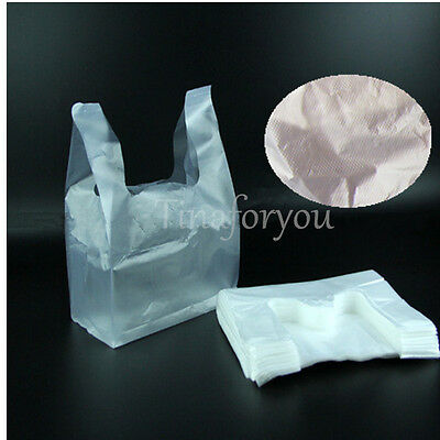 100 PLASTIC SINGLET CARRY SHOPPING CHECKOUT BAGS SMALL 285X180mm  WHITE BULK