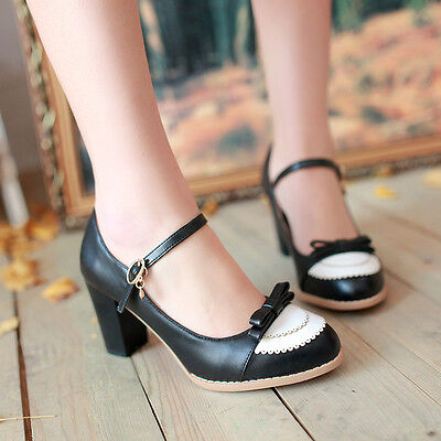 Womens High Heel Block Mary Jane Fashion New Buckle Bowknot Pumps Shoes Plus Sz