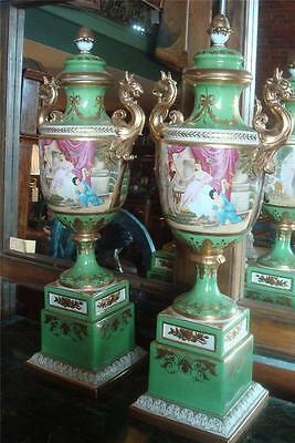 Pair of Sevres Style Classic French Porcelain Urns - Hand Painted - 85cm