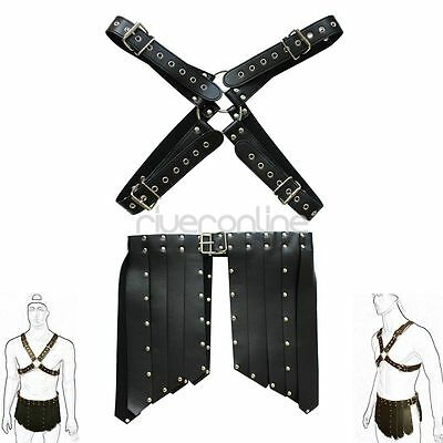 Mens Leather Adjustable Chest Body Harness Buckle +PU Shorts Costume CLUBWEAR