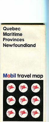 1969 Mobil Quebec/Maritime Provinces/New Foundland Vintage Road Map