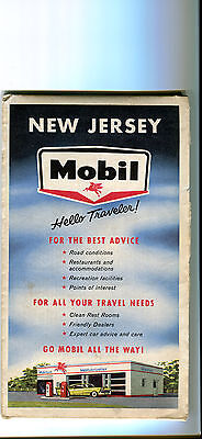 1966 Mobil New Jersey Vintage Road Map