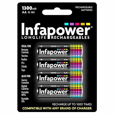 Infapower B003 Compatible Rechargeable AA Ni-MH Batteries 1.2V 1300mAh New