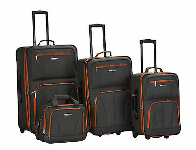Rockland 4 Piece Luggage Set Charcoal