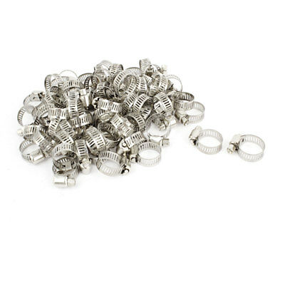 100 Pcs Cut Out Band Hose Pipe Fastener 13-19mm Adjustable Clamps Hoops