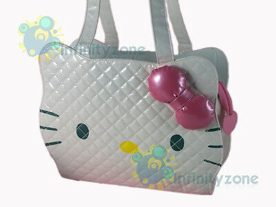 RARE Sanrio Hello Kitty Fauxy Leather Shoulder Tote Carry Bag White B