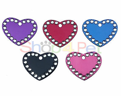 Pet ID Tag Quality 32mm Aluminium Crystal Heart Dog & Cat Tags, ENGRAVED OPTIONS